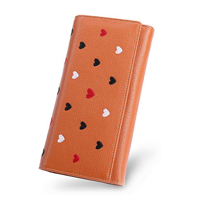 Leder Geldbörse mit Herz Portemonnaie Damen lang mit Reißverschluss