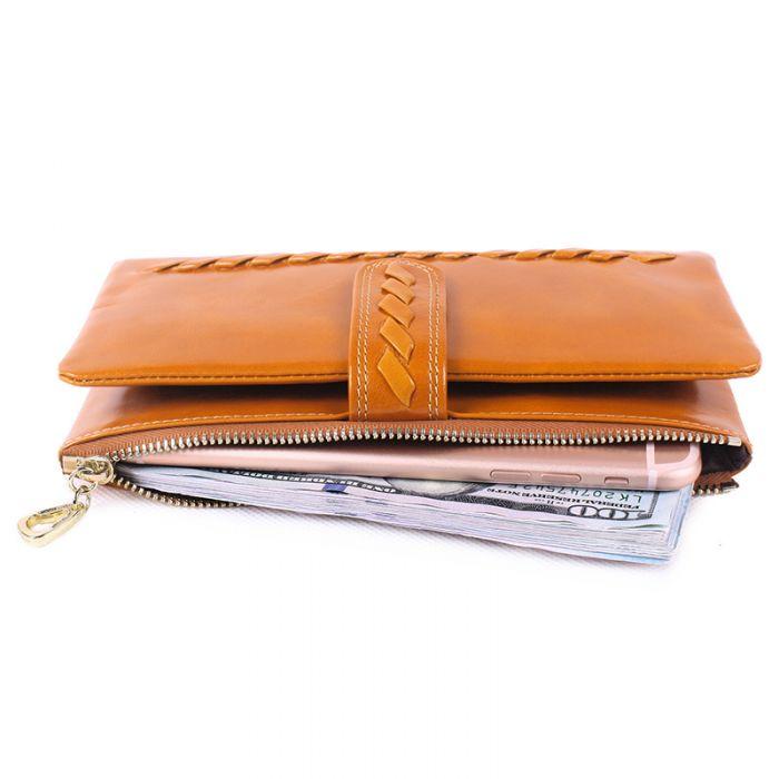 Portemonnaie Damen Leder Geldbörse lang Reißverschluss