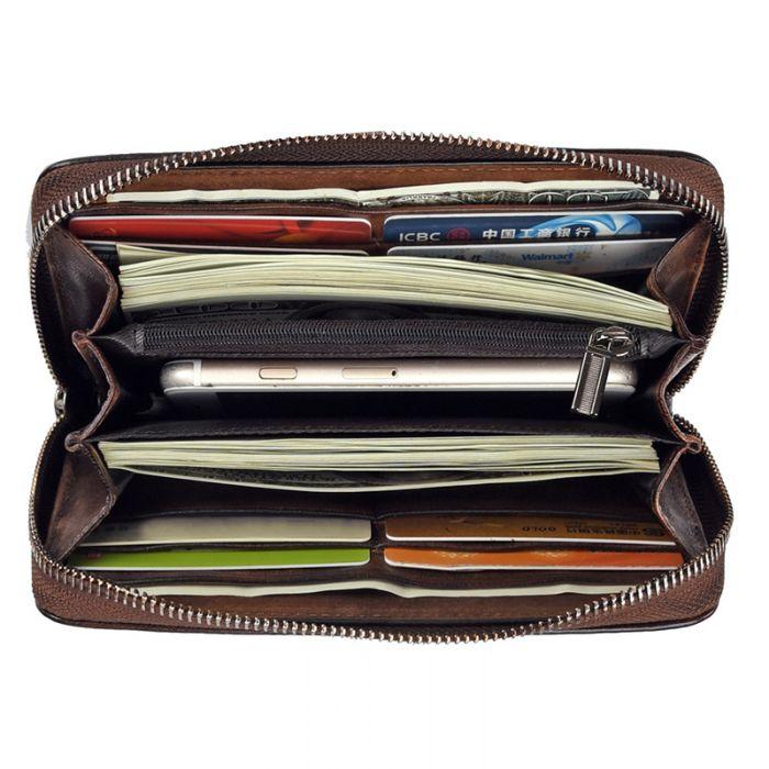 Vintage Geldbörse Damen Leder Geldtasche Portemonnaie mit Handyfach
