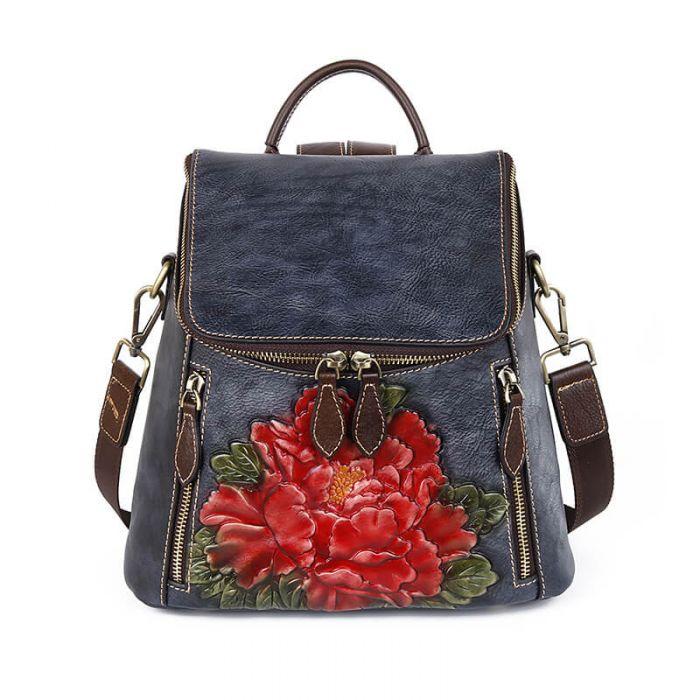 Damen Vintage Leder Rucksack Schultertasche 2 in 1 Blumenmuster
