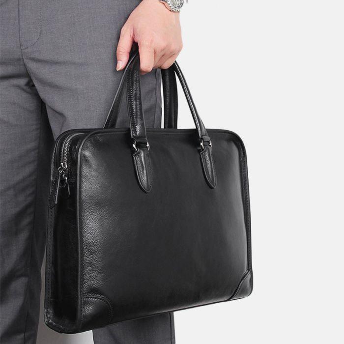 Herrenhandtasche schwarze Aktentasche Business Herren aus Leder