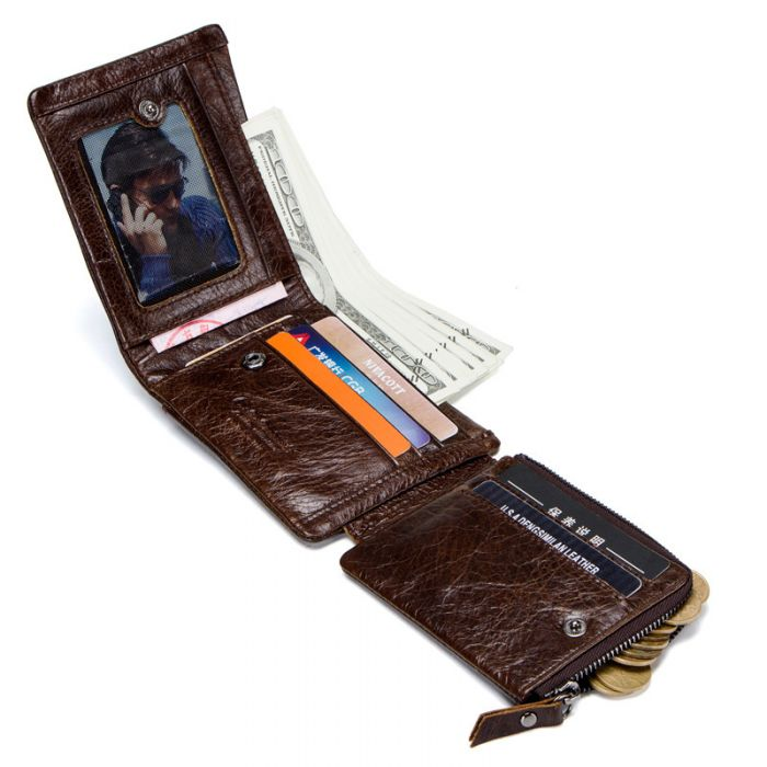 Männer Geldbörse braun Geldbeutel Querformat