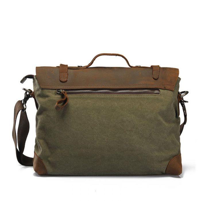 Herren Handtasche Umhägetasche aus Segeltuch und Leder in drei Farben