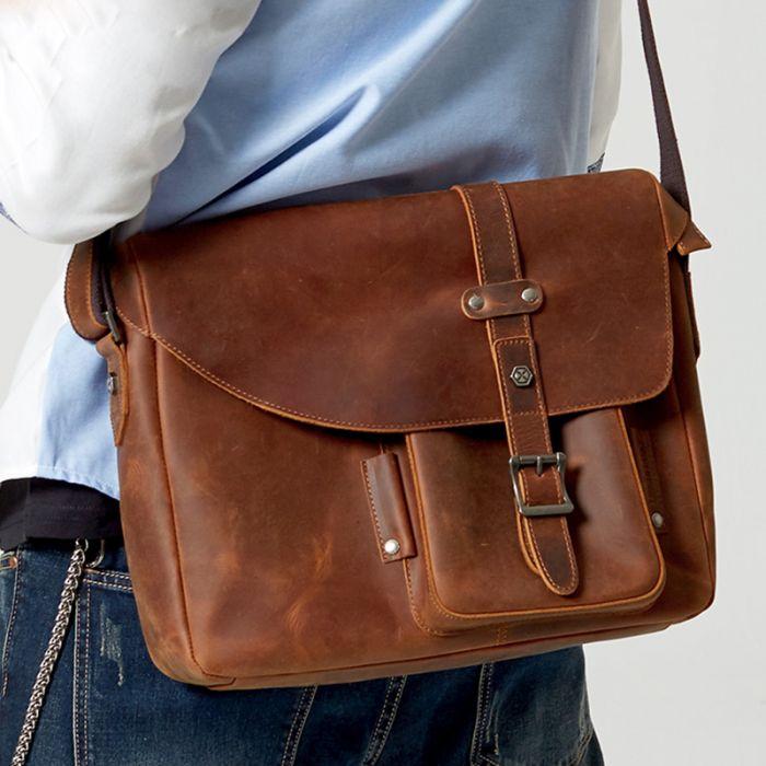 Retro Umhängetasche Herren Leder Vintage Businesstasche