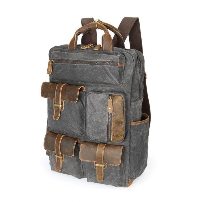retro Segeltuch wasserdichter Rucksack Herren Vintage für Reisen aus gewachstem Canvas