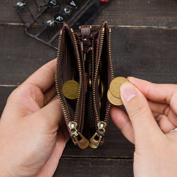kleine Geldbörse Herren Leder braun Portemonnaie RFID Schutz