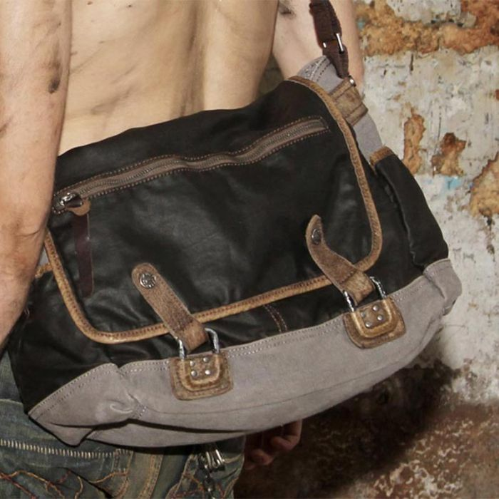 Umhängetasche Herren aus Segeltuch Canvas Tasche Herren Vintage