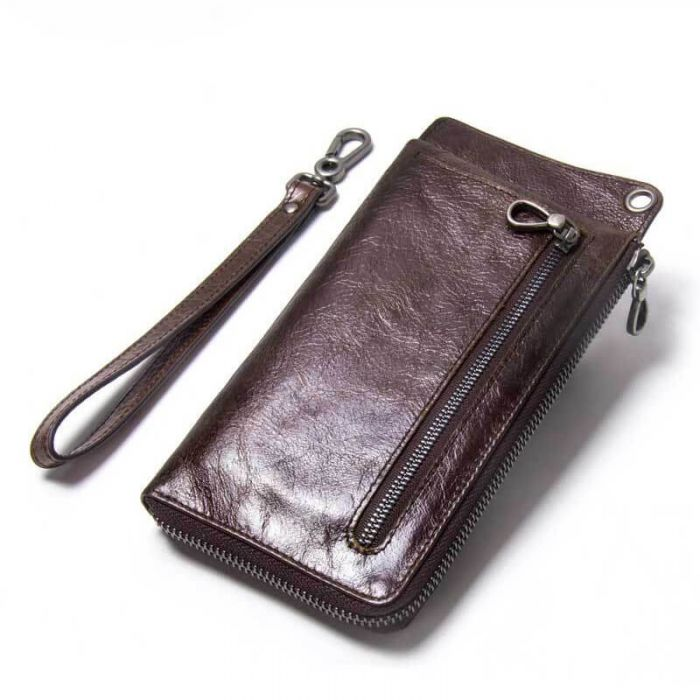 Geldbörse Herren und Damen Leder lang Portemonnaie mit Münzfach in Kaffeebraun und Weinrot