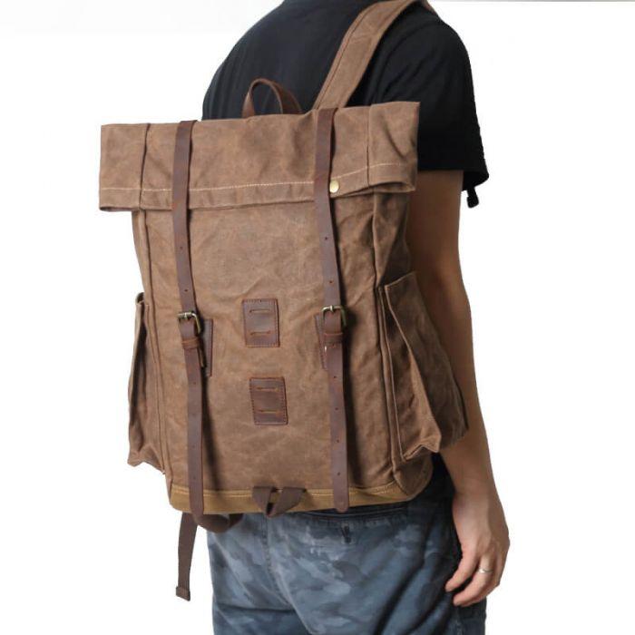 moderner Rucksack Segeltuch Herren mit Griff Laptoptasche