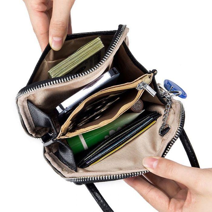 Kleine Umhängetasche Damen aus Leder Handy Tasche