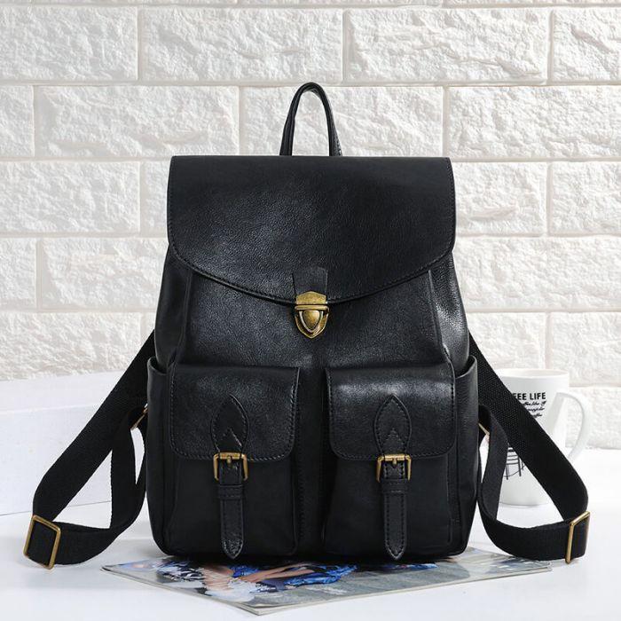 kleiner Damen Lederrucksack Rucksack schwarz