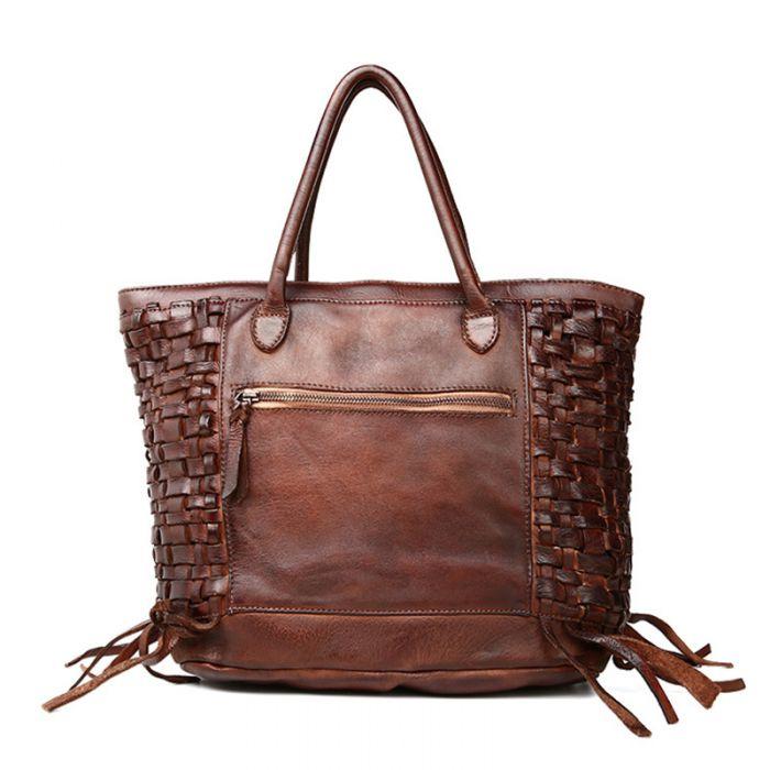 braune Handtasche geflochten Leder für Damen