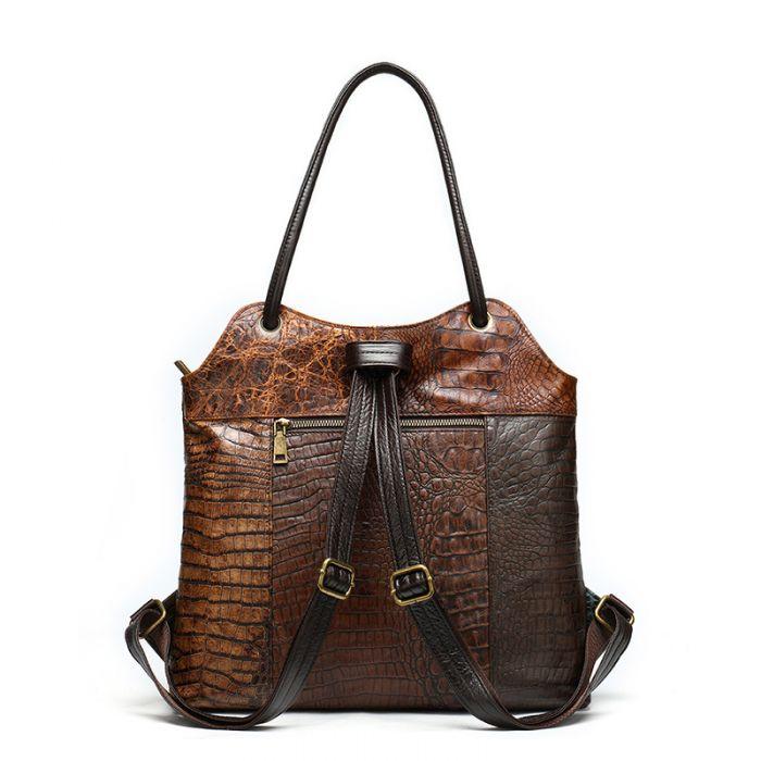 Rucksack und Schultertasche 2 in 1 Damen Leder Vintage