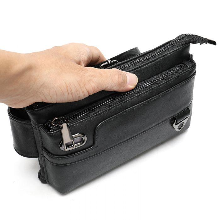 schwarze Hüfttasche Leder Gürteltasche für Herren Schultertasche