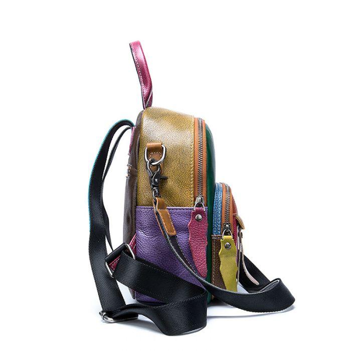 kleiner Rucksack und Schultertasche 2 in 1 Lederrucksack Damen bunt