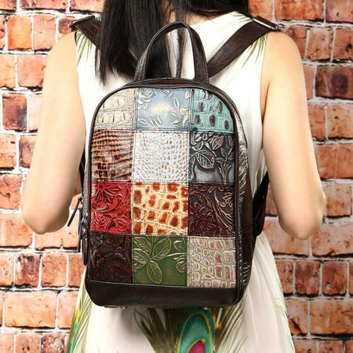 vintage Leder Rucksack Damen bunt viele Fächer