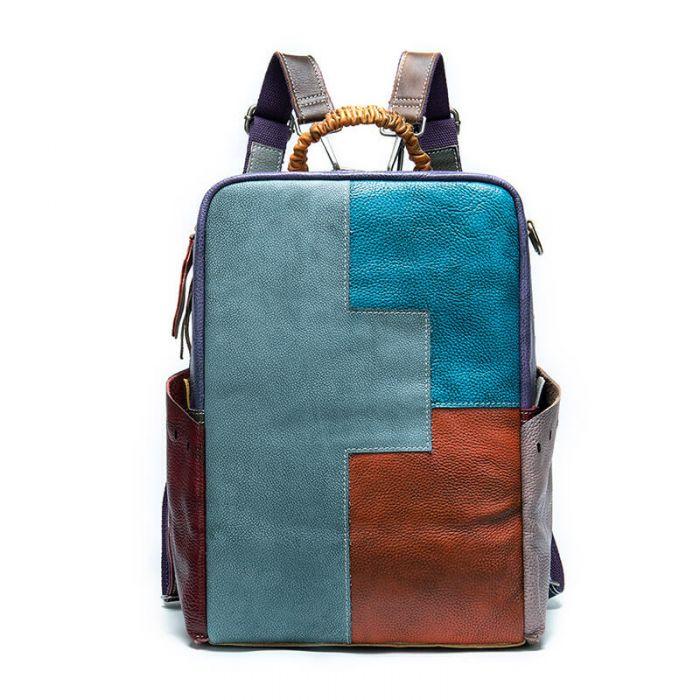 großer Damen Rucksack Leder bunt zum Umhängen 2 in 1