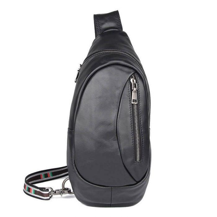 Brusttasche für Männer Brustbeutel Leder schwarz