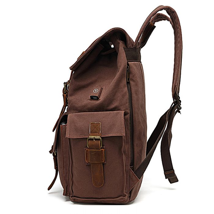Vintage Canvas Rucksack Herren Segeltuch Backpack mit Laptopfach