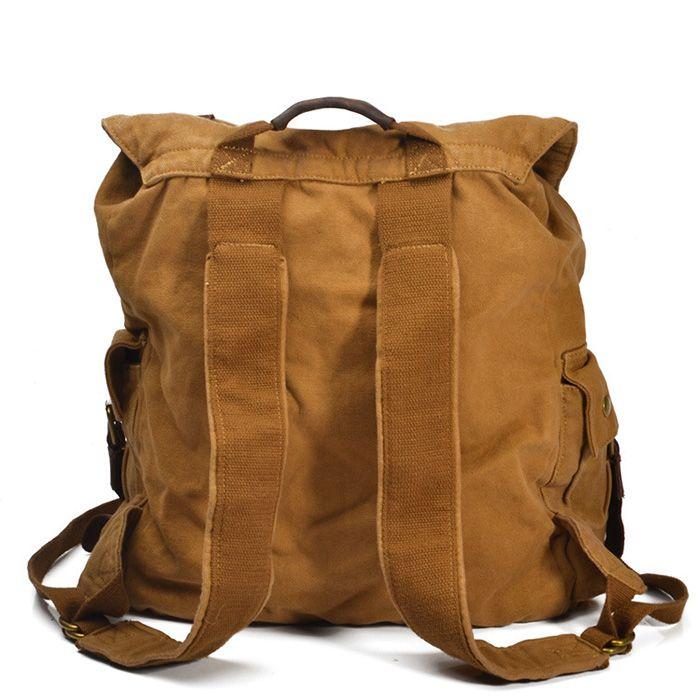 Vintage Rucksack Segeltuch Backpack für Herren