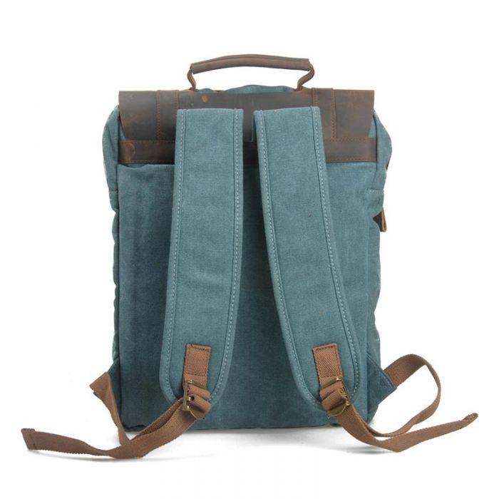 grüner Vintage Rucksack Herren aus Segeltuch und Leder