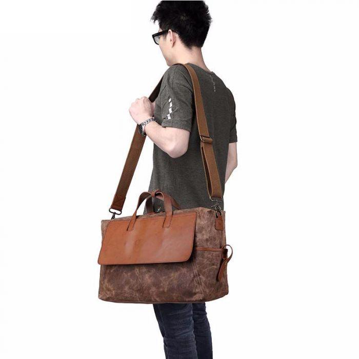 große Reisetasche Herren Canvas Umhängetasche mit Griff
