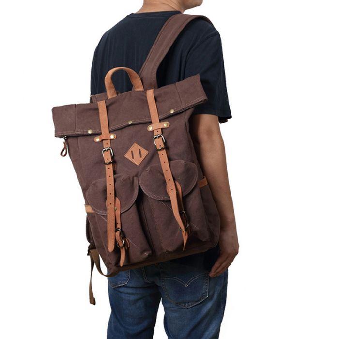 großer Rucksack aus Canvas für Uni Sport und Reisen