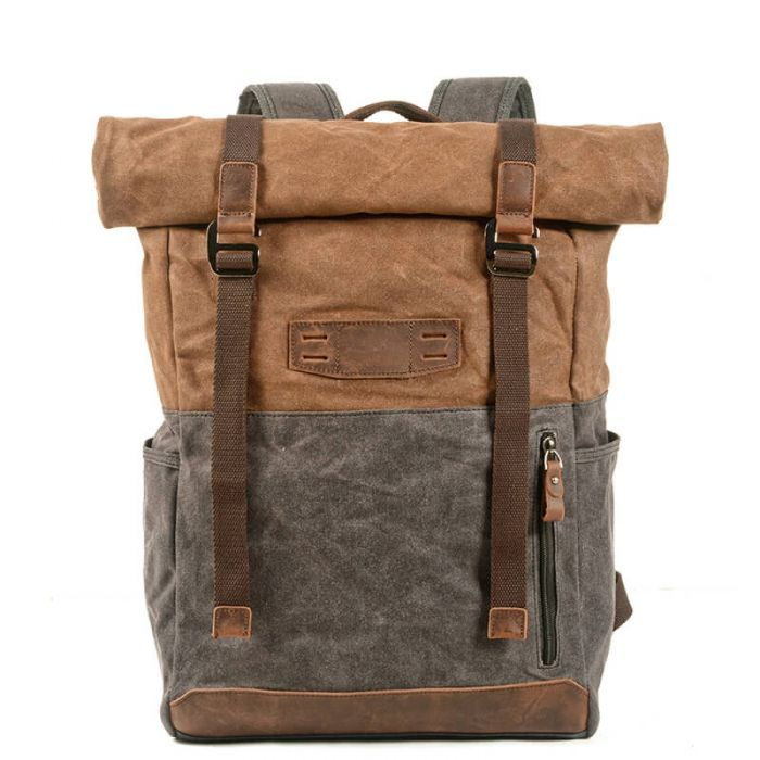 Rucksack aus gewachstem Canvas Backpack Reiserucksack Herren