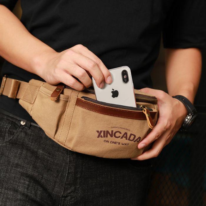 hochwertige Herren Hüfttasche Canvas Vintage Brusttasche