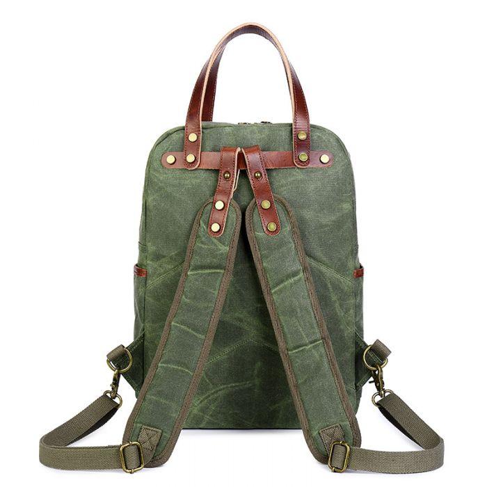 Herren Rucksack Handtasche Kombination aus gewachstem Baumwolle