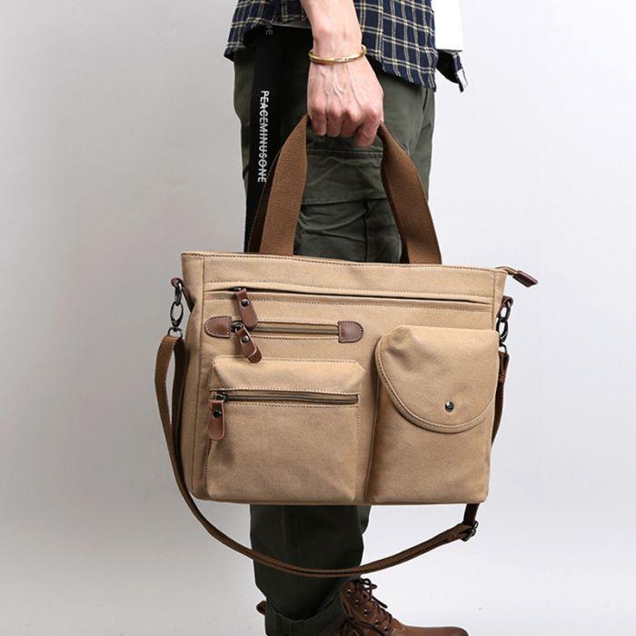 günstige Handtasche aus Segeltuch für Herren Canvas Umhängetasche