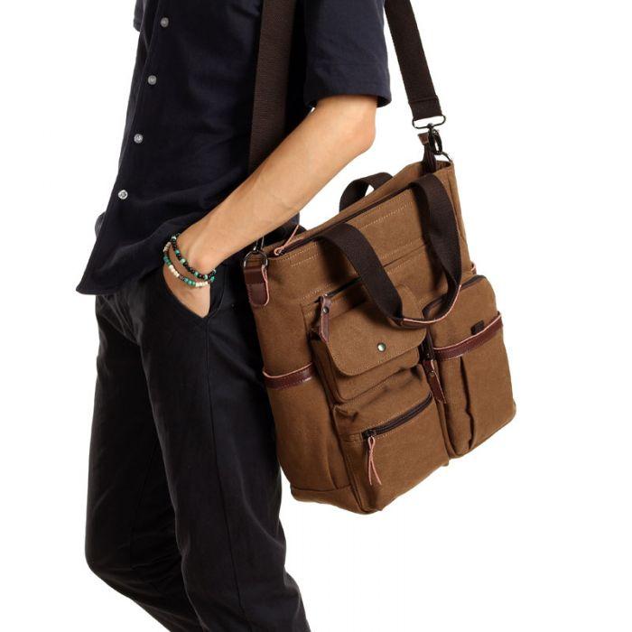 braune Umhängetasche aus Segeltuch Tasche für Uni Männer