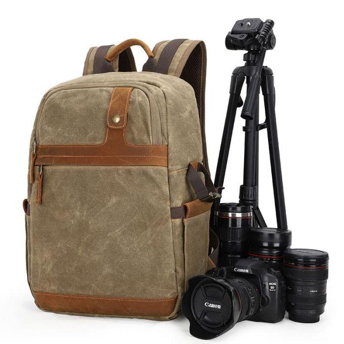 Canvas Rucksack Herren für Kameraausrüstung
