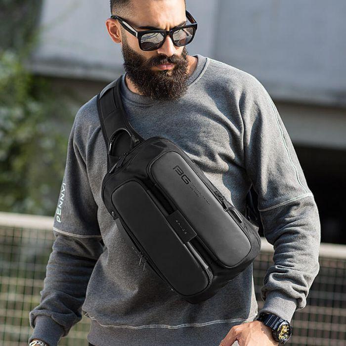 Herren Brusttasche aus Oxfod Rucksack mit 1 Gurt