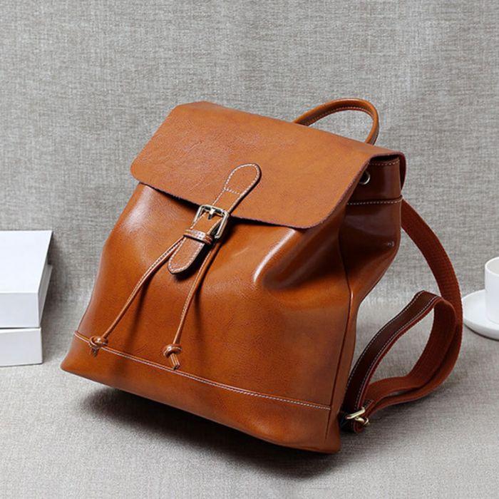 Vintage Rucksack Damen Leder braun Backpack mit Henkel