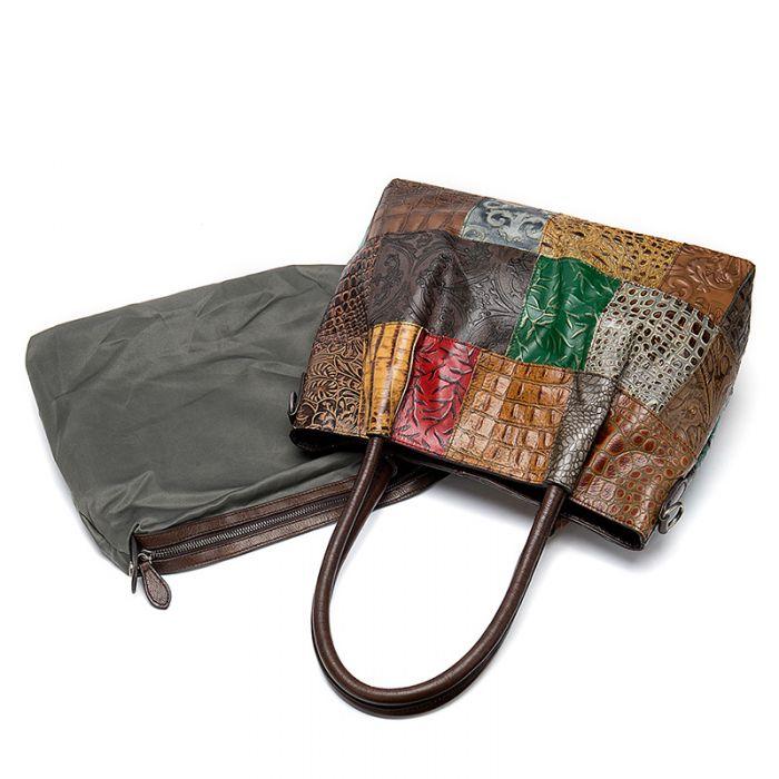 moderne Handtasche Damen bunt Leder Schultertasche