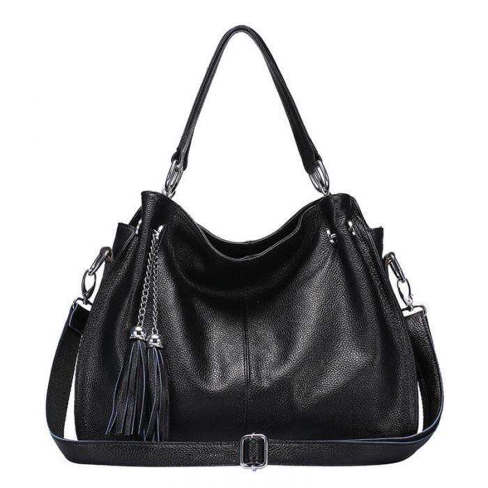 Handtasche Damen aus Leder mit Griff Umhängetasche mit Bommel