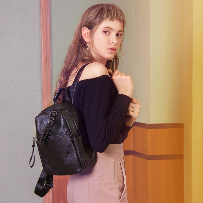 schwarzer Lederrucksack Damen klein Rucksack für Alltag