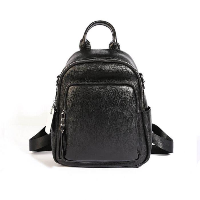 schwarzer Damenrucksack Damen Leder Rucksack Schultertasche 2in1