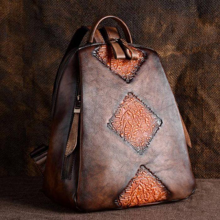 Damen Rucksack aus Leder für Reisen und Alltag