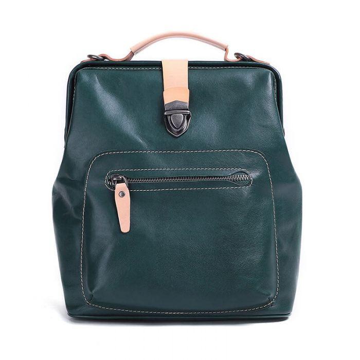 hochwertiger Rucksack Damen aus Leder mit Griff