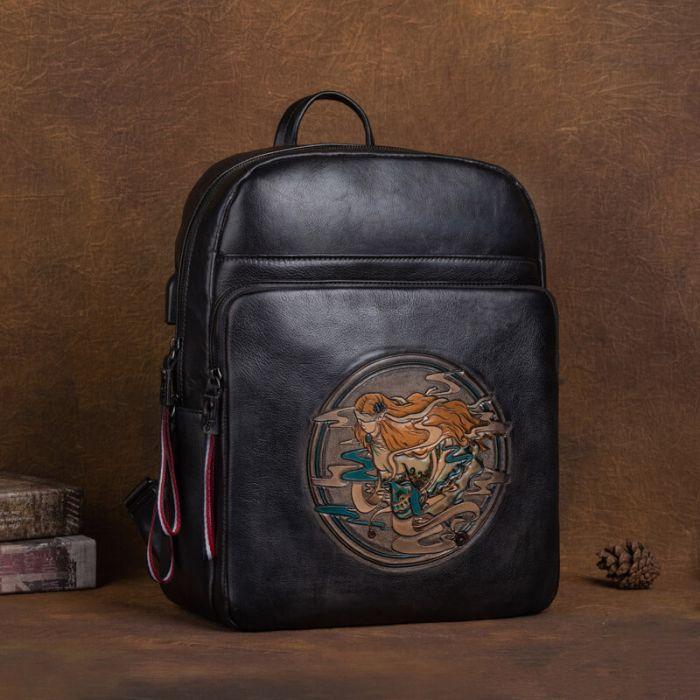 retro leder rucksack tasche