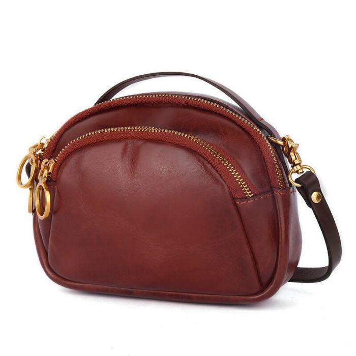 Kleine Umhängetasche Damen Leder Handy Vintage