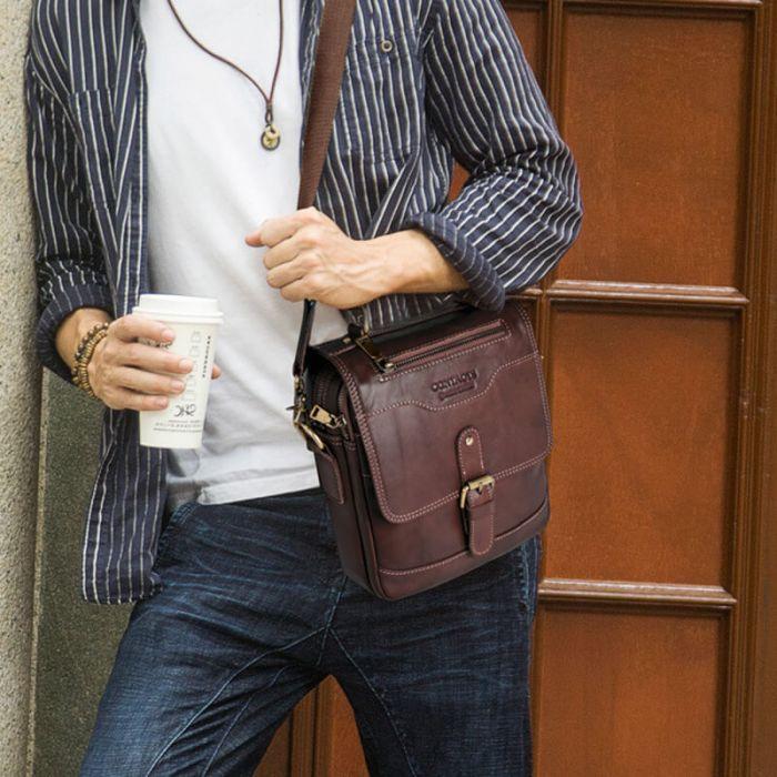 braune Umhängetasche Leder Herren Tasche zum Umhängen für Männer