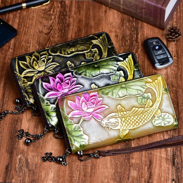 Geldbörse Damen Leder Portemonnaie lang mit Fisch