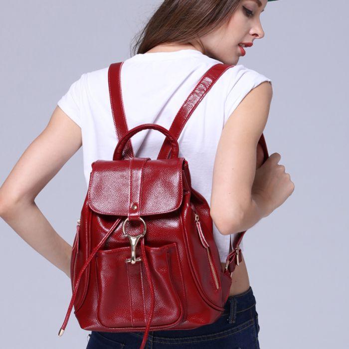 roter Lederrucksack Damen Rucksack für Alltag