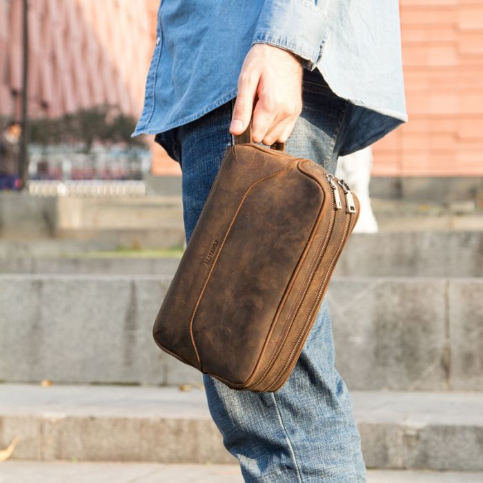 moderne Clutch bag Kulturtasche Herren Leder