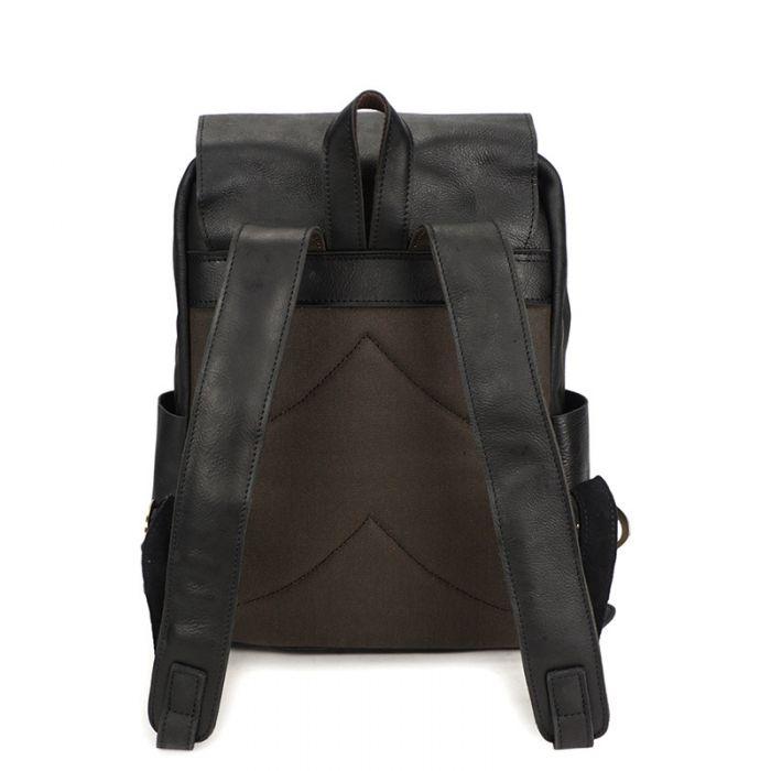 schwarzer Leder Rucksack Herren Vintage Laptop