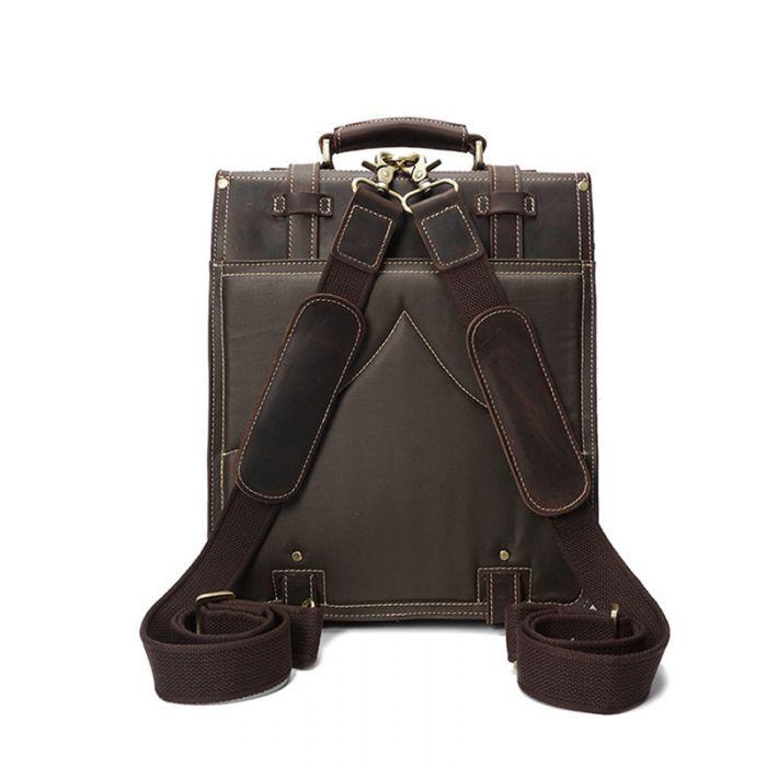 brauner Leder Rucksack Umhängetasche Kombination Laptoptasche