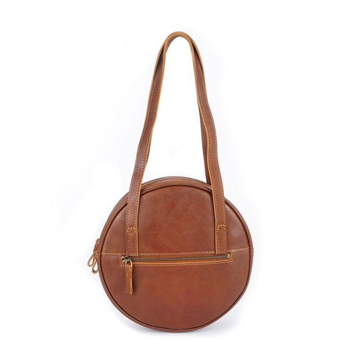 Kleine runde Schultertasche Handtasche Damen Leder Vintage